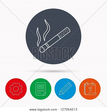 Smoking allowed icon. Yes smoke sign. Calendar, cogwheel, document file and pencil icons.
