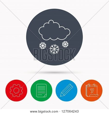 Snow icon. Snowflakes with cloud sign. Snowy overcast symbol. Calendar, cogwheel, document file and pencil icons.