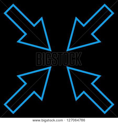 Compact Arrows vector icon. Style is contour icon symbol, blue color, black background.