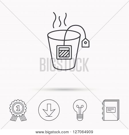 Tea bag icon. Natural hot drink sign. Breakfast beverage symbol. Download arrow, lamp, learn book and award medal icons.
