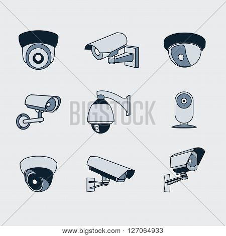 On the image is presented set of icons surveillance camera
