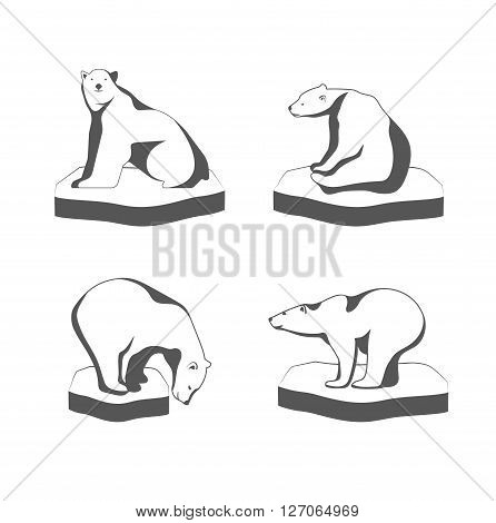 On the image is presented A polar bear sits on the ice the symbol of the Arctic.