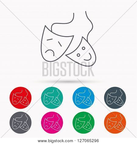 Theater masks icon. Drama and comedy sign. Masquerade or carnival symbol. Linear icons in circles on white background.