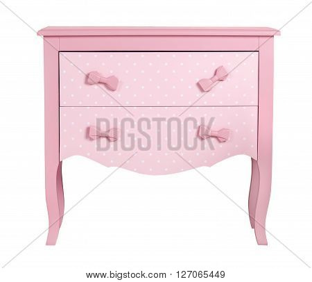 Pink children's chest of drawers isolated on white background