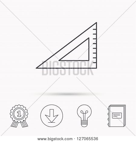 Triangular ruler icon. Straightedge sign. Geometric symbol. Download arrow, lamp, learn book and award medal icons.