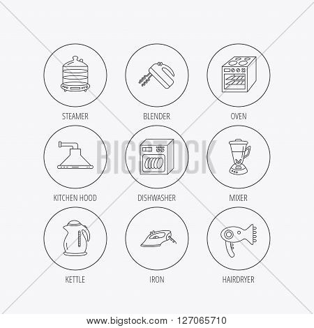 Dishwasher, kettle and mixer icons. Oven, steamer and iron linear signs. Hair dryer, blender and kitchen hood icons. Linear colored in circle edge icons.
