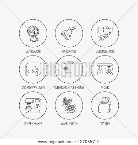 Microwave oven, hair dryer and blender icons. Refrigerator fridge, coffee maker and toaster linear signs. Ventilator, curling iron and waffle-iron icons. Linear colored in circle edge icons.