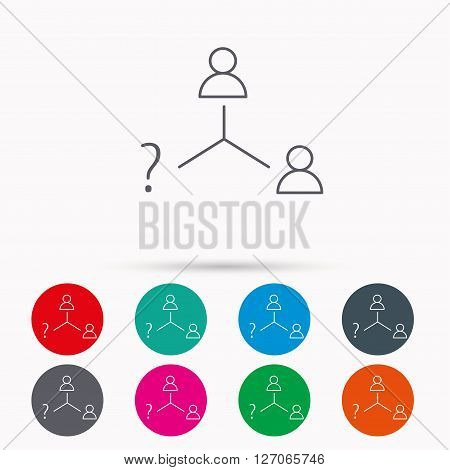 Vacancy or hire job icon. Teamwork sign. Question mark symbol. Linear icons in circles on white background.