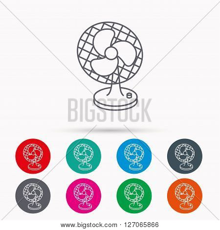 Ventilator icon. Fan or propeller sign. Linear icons in circles on white background.
