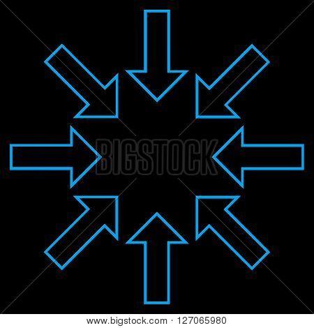 Pressure Arrows vector icon. Style is thin line icon symbol, blue color, black background.