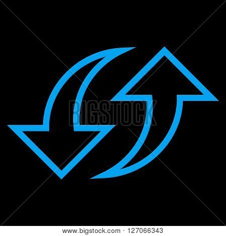 Replace Arrows vector icon. Style is stroke icon symbol, blue color, black background.