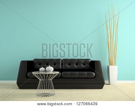 Part of interior with black sofa 3D rendering
