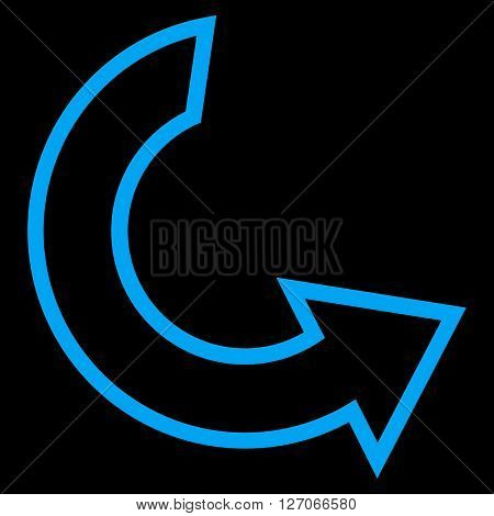 Rotate Ccw vector icon. Style is contour icon symbol, blue color, black background.