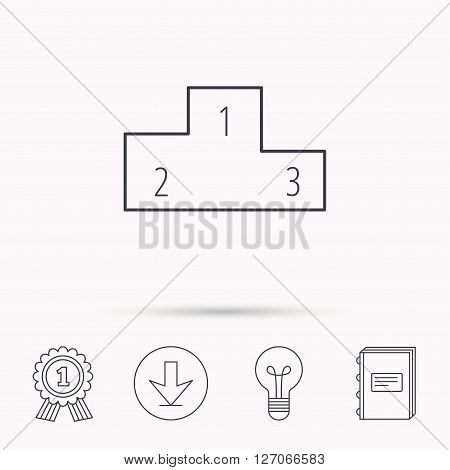 Winners podium icon. Prize ceremony pedestal sign. Download arrow, lamp, learn book and award medal icons.