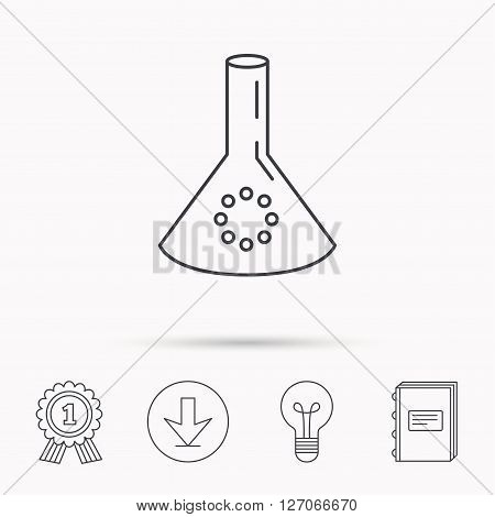 Laboratory bulb or beaker icon. Chemistry sign. Science or pharmaceutical symbol. Download arrow, lamp, learn book and award medal icons.