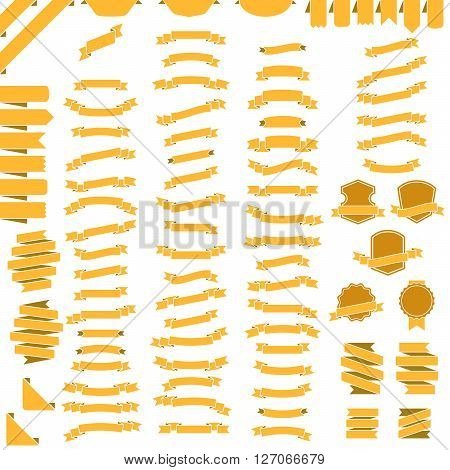 vector set of ribbons. Collection design illustration ribbon, tag, sticker, label and banner element