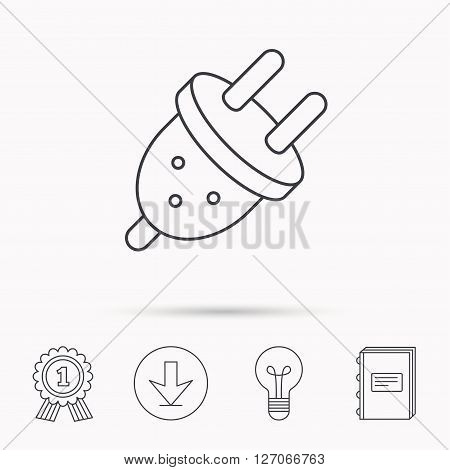 Electric plug icon. European socket sign. Download arrow, lamp, learn book and award medal icons.