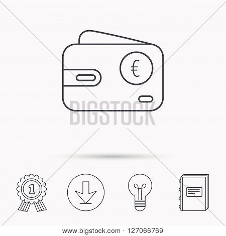 Euro wallet icon. EUR cash money bag sign. Download arrow, lamp, learn book and award medal icons.