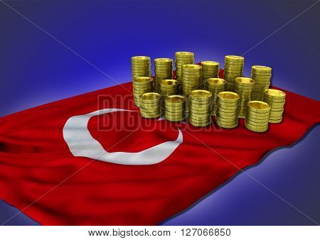 Turkish economy concept with national flag and stack of golden coins on blue background - 3D render