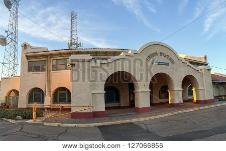 PHOENIX AZ - MARCH 9 2016: Panoramin shot of closed empty building of Union train Station in Phoenix downtown in the early morning hour Arizona