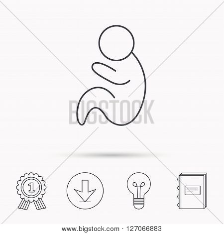 Baby infant icon. Pediatrics sign. Newborn child symbol. Download arrow, lamp, learn book and award medal icons.