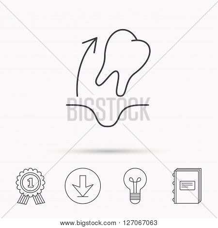 Tooth extraction icon. Dental paradontosis sign. Download arrow, lamp, learn book and award medal icons.