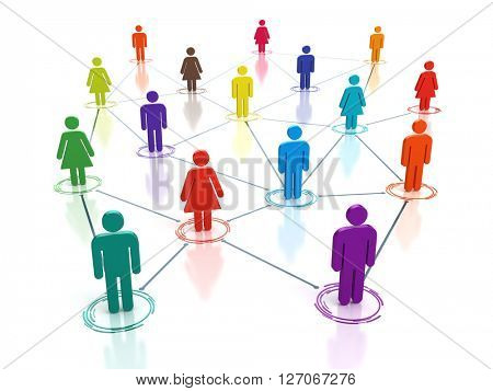 Social media network - connecting people concept - 3d render