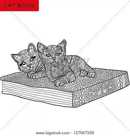 surprised kittens are at great book. hand-drawn. live patterns