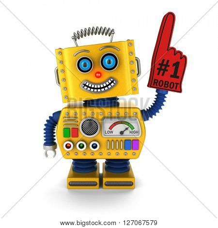 Toy robot with red foam finger celebrating its victory over white background