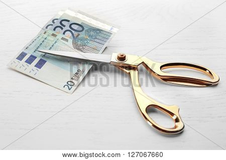 Scissors cuts euro banknote on table