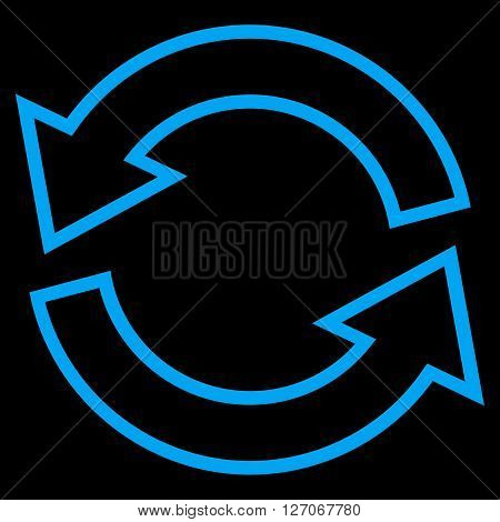 Update Arrows vector icon. Style is outline icon symbol, blue color, black background.