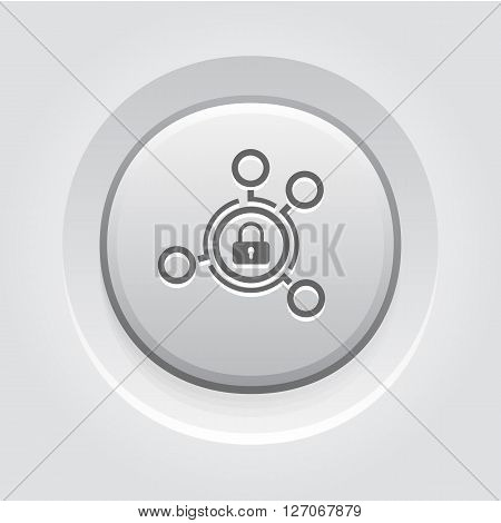 Advanced Security Solutions Icon. Business Concept. Grey Button Design