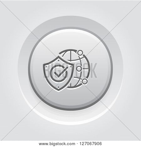 Global Protection Icon. Business Concept. Grey Button Design