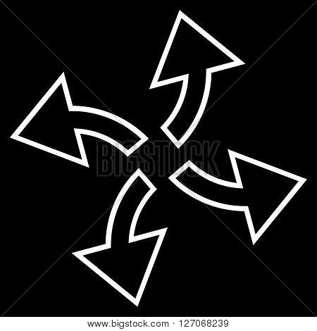 Centrifugal Arrows vector icon. Style is stroke icon symbol, white color, black background.
