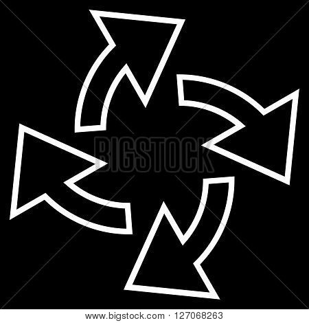 Centrifugal Arrows vector icon. Style is contour icon symbol, white color, black background.