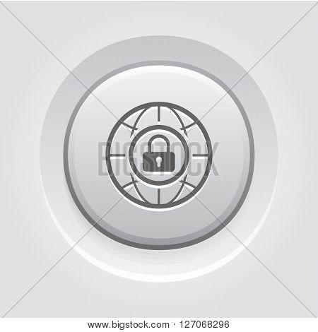 Internet Security Icon. Business Concept. Grey Button Design