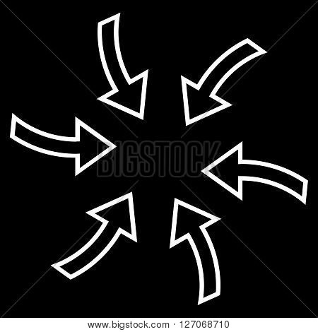 Cyclone Arrows vector icon. Style is stroke icon symbol, white color, black background.