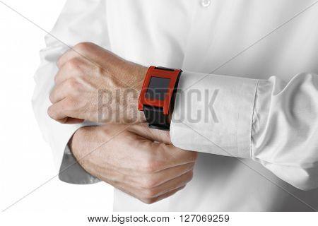 Modern watch on a businessman's wrist, close up