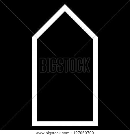 Pointer Up vector icon. Style is contour icon symbol, white color, black background.