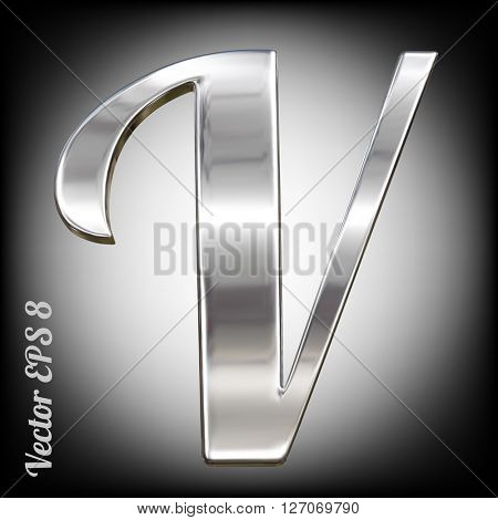 Metal alphabet vector symbol - V. Eps 8 using mesh.