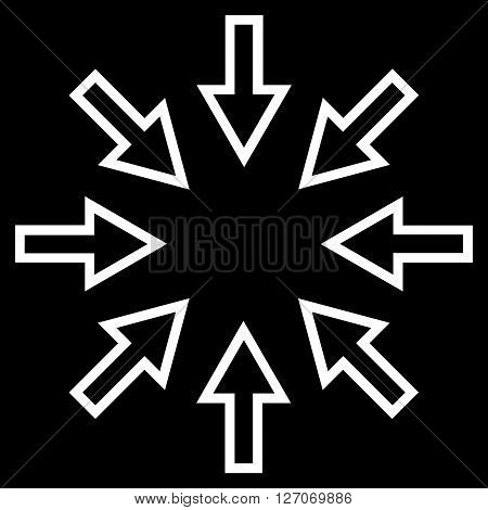 Pressure Arrows vector icon. Style is contour icon symbol, white color, black background.