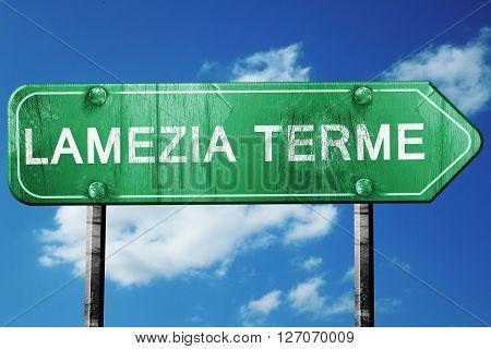 Lamezia terme road sign, on a blue sky background