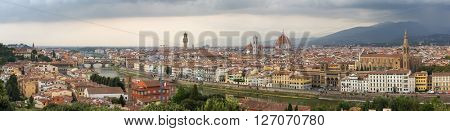 Panorama view of Florence historical center, Italy.