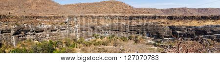 Ajanta caves panorama near Aurangabad, Maharashtra state in India