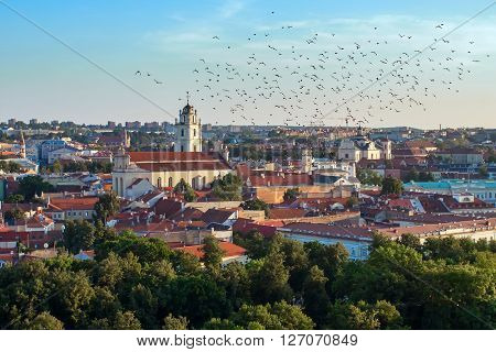 Summer in Vilnius, city center downtown view, Lithuania