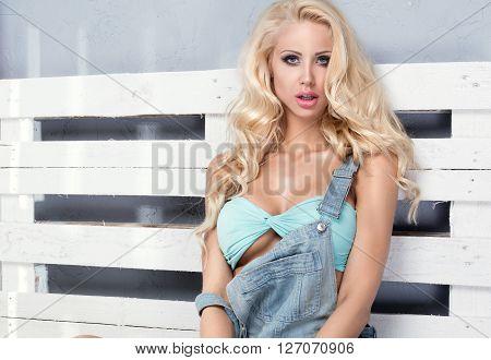 Fit Blonde Woman Posing.