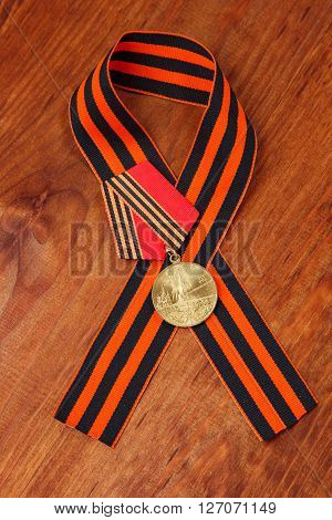 Jubilee Medal 50 Years Of Victory In Great Patriotic War And George's Ribbon