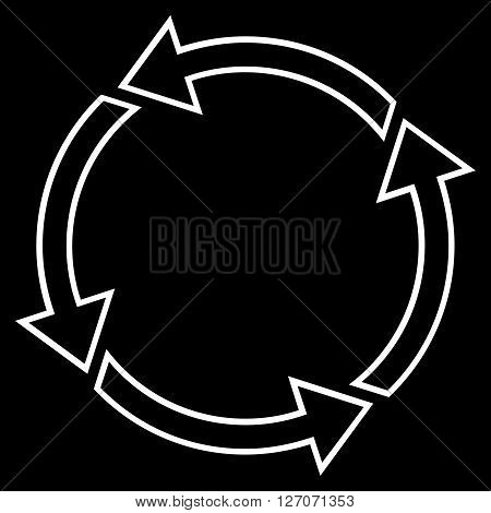 Rotation Ccw vector icon. Style is contour icon symbol, white color, black background.