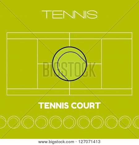 Tennis ball. Flat sports icon. Tennis court. Vector illustration