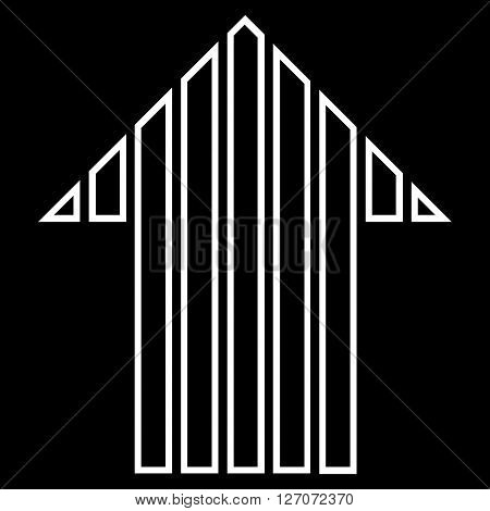 Stripe Arrow Up vector icon. Style is outline icon symbol, white color, black background.